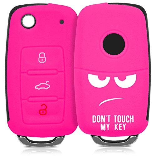 kwmobile Autoschlüssel Hülle für VW Skoda Seat - Silikon Schutzhülle Schlüsselhülle Cover für VW Skoda Seat 3-Tasten Autoschlüssel Weiß Pink