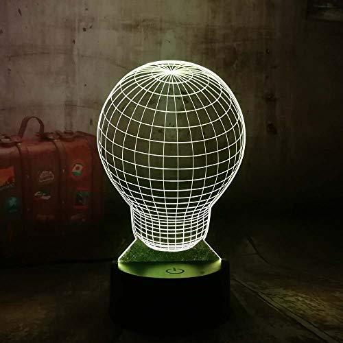 GBBCD Nachtlicht Neue Weihnachtsgeschenk 3D Led Nachtlicht 7 Farben Ändern Glühbirne Form Illusion Schreibtischlampe Kreative Geschenk Hause Uique Spielzeug Für Jungen