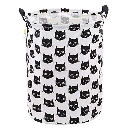 CHUNJIANGSHUI Wäschekorb Katze-Muster-Gewebe Fässer Wäschebeutel Speicher-Korb Baumwolle Und Leinen Folding Wasserdichter Speicher-Korb (Color : Black Cat Head)