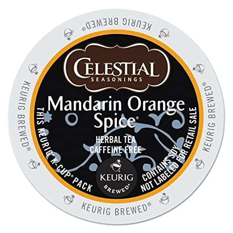 Celestial Seasonings Mandarin Orange Spice Herbal Tea, K-Cup Portion Pack for Keurig K-Cup Brewers, 24-Count