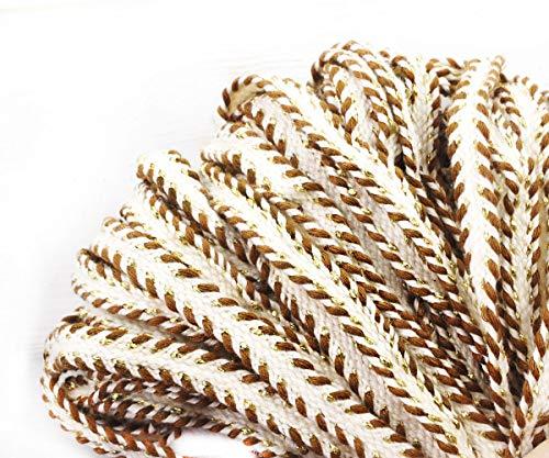 he Weiße Licht Braun Gold String Baumwoll-Leinen Strick Stoff Ribbon Flache Kordel Boho Armband Halskette Nähen Dekorative 12mm ()