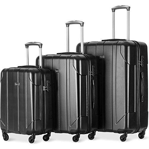 3tlg. Trolleyset Leichtgewicht Hartschalen Gepäckset 4 Doppel-Rollen PET Kofferset Reisekofferset mit Zahlenschloss, XL-L-M, (Schwarz)