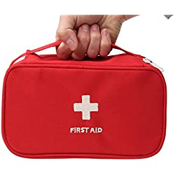 CARRY TRIP Portable First Aid Empty Kit Pouch Tote Small First Responder Storage Bag Compact Emergency Survival Bag Medicine Bag for Home Office Travel Camping Sport Backpacking Hiking Cycling Gym Car Outdoor (Red)