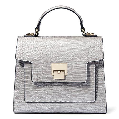 Kadell Frauen Leder Handtaschen Vintage Tote Geldbörse Schultertasche Satchel für Damen Klappe Tasche Schwarz Silber