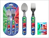 Set di posate per bambini in acciaio INOX con cucchiaio e forchetta Disney P J maschere