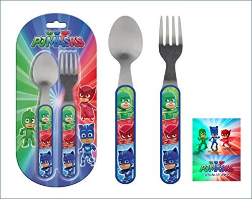 Kids stainless steel cutlery set spoon and fork Disney P J Masks