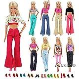 Miunana 30 Stück = 10 Hemd Bluse T-Shirt Tops mit 10 Hosen Kleidung Kleider Outfit mit 10 Paar Schuhe für Barbie Puppen Doll