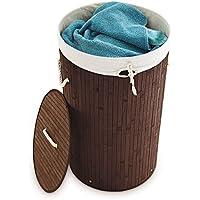 Relaxdays cesto ropa sucia de bambú, Redondo, Plegable, Estrecho, Con tapa, Volumen 80 L, Diámetro 41 cm, marrón