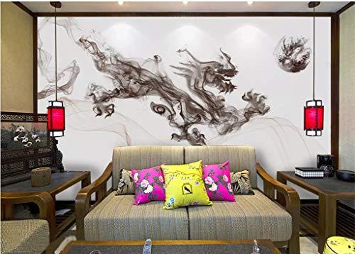 BHXINGMU Murale Personalizzato Drago D'Inchiostro Astratto Cinese Carta Da...