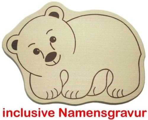 Frühstücksbrett Tierformbrett Schneidbrett mit Tiermotiv Bär Teddy Eisbär Panda Holzbrett mit Namensgravur Frühstücksbrettchen Brotzeitbrett (Eisbär Eisbär)
