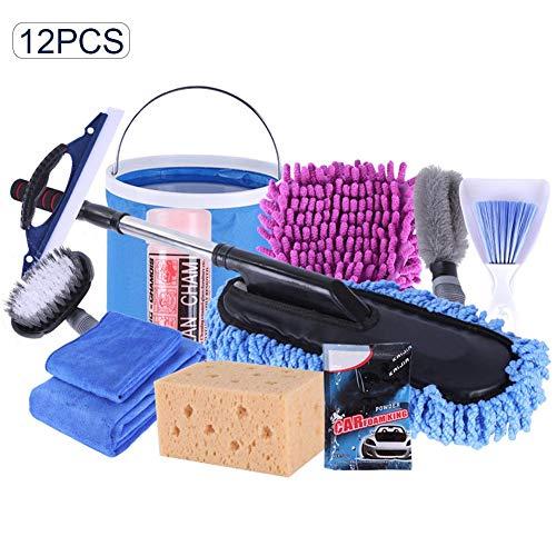 Preisvergleich Produktbild Dough.Q 12 Stücke Auto Reinigungsset Autopflege Set Mit Autowaschtuch Wischmop Staubbürste Für Autowäsche Reinigung Pflege