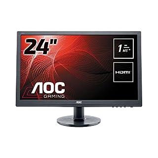 AOC 24 inch 1 ms Response Time LED Monitor, HDMI, DVI, VGA, Speakers, Vesa E2460SH, Black