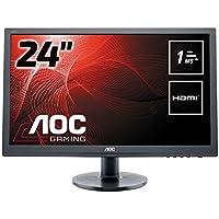 """AOC Monitores E2460SH - Monitor de 24"""" (resolución 1920 x 1080 pixels, tecnología WLED, contraste 1000:1, 1 ms, HDMI), color negro"""