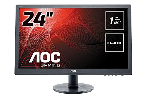 AOC 24 inch 1 ms Response Time LED Monitor, HDMI, DVI, VGA, Speakers, Vesa E2460SH UK