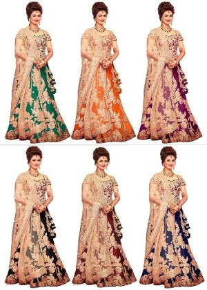 Bollywood Style Divyanka Tripathi Bhagalpuri Party Wear Lehenga Choli In Orange Colour