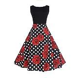KPILP Frauen Rockabilly Kleid Vintage Sleeveless O Neck Petticoat Abend Druck Partei Faltenrock Prom Swing Dress(Schwarz5,EU-38/CN-S