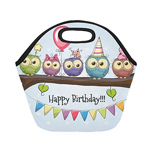 Isolierte Neopren-Lunchtasche Happy Birthday Eulen auf Ast mit Luftballon, große Größe, wiederverwendbar, dick, für Brotdosen im Freien, Arbeit, Büro, Schule