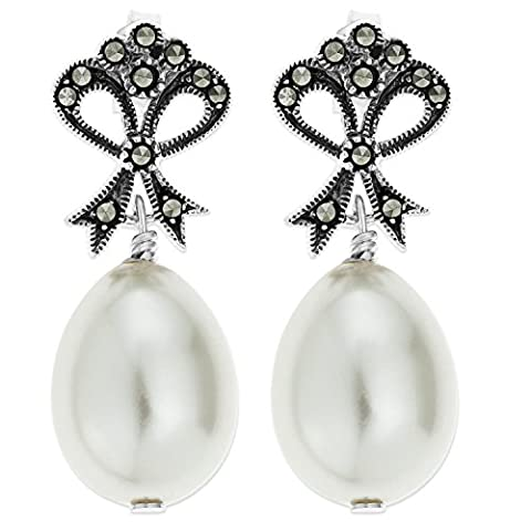 Ornami Sterling Silver Large Marcasite Glass Pearl Oval Drop Earring