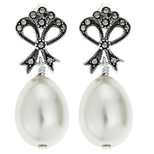 ornami-sterling-silver-large-marcasite-glass-pearl-oval-drop-earring-studs