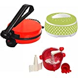 "Today's Deal"" 900W Non-Stick Roti Maker With 1 Casserole And 1 Dough Maker (8"" Diameter)(Red)"