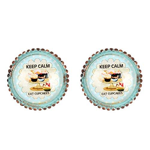 Dekorative Möbelknöpfe (NIKKY HOME 2 Stück Türgriffe aus Griff Schublade zieht nette Möbel Schrank Vintage Style Vogel geformte dekorative Geschenk Metall und Glas grünes Kuchen)