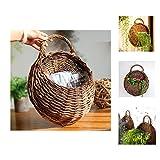 Yosposs fatto a mano in vimini cestino appeso fiore rattan pianta di parete per casa festa di nozze decorazione