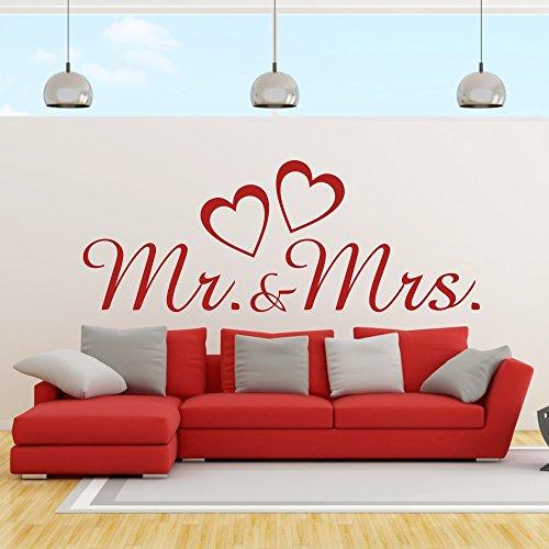 eDesign24 Wandtattoo Mr and Mrs Herr und Frau Ehepaar Hochzeit Heirat Herzen Liebe Wanddekoration Wanddesign ca. 120 x 46 cm weiß