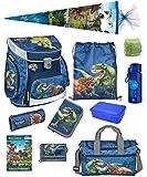 Familando Dinosaurier Schulranzen-Set 11 TLG. Scooli Campus FIT mit Federmappe, Sporttasche, Schultüte 85cm Schleich Dinosaur und Regenschutz