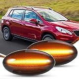 Latéral LED Clignotants, UMIWE Led Feux de Position Latéraux, Lentille de Fumée Ambre Led Feu de Position Latéral Feu de Gabarit Indicateur de Lumière pour P-eugeot Citroen