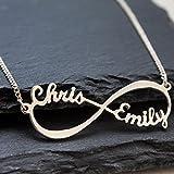 Infinity - Unendlich Namenskette,Sterling - Silber Die kette,Personalisiert mit Ihren eigenen 2 Namen