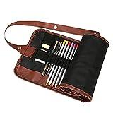 Nikgic Toile Crayon Wrap Porte-Crayon Poche Crayons de Couleur Crayon Sac Crayon Sac Stylo Sac Crayon Étui Porte-documents (Crayons NON inclus) (48 emplacements)
