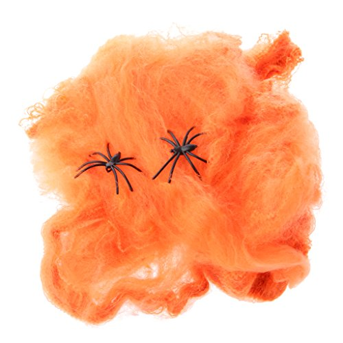 Spinnennetz mit Spinnen Halloween Requisiten Dekorative Halloween-Szene Halloween Kostüm - Orange, L x B: 18,5 x 21,5 (Halloween Szene Kostüm Et)