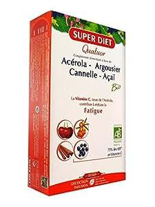 SuperDiet Quatuor Tonus Energie Argousier Açai Cannelle Acérola 20 ampoules de 15ml