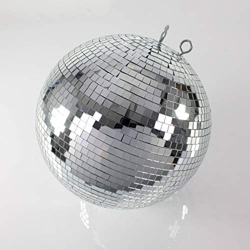 showking Große Discokugel GLIX mit Echtglasfacetten, Ø 50cm, Silber - Spiegelkugel - 70er 80er Jahre Mottoparty