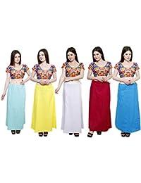 Pistaa combo of 5 Women's Cotton Best Indian High Quality Readymade Inskirt Saree petticoats