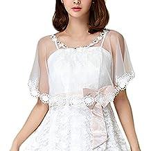 Poncho Mujer Elegantes Transparentes Tul Cuello Redondo Capa Fashion Joven Bastante Vintage Fiesta Cóctel Party Chal