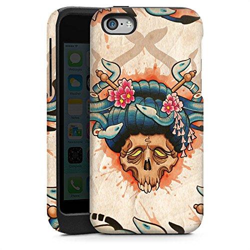 Apple iPhone 6 Housse Étui Silicone Coque Protection Tatouage Tête de mort Crâne Cas Tough brillant