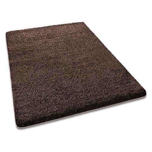 casa pura® hochwertiger Hochflor – Teppich für besonders weiches Laufgefühl   dunkelbraun   4 Größen