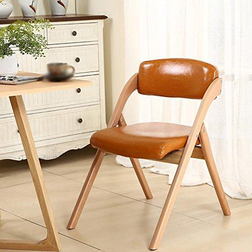 SFZMRYLSY Chaise pliante en bois Pliant Ergonomie salon tabouret Chaise de salle à manger fauteuil Chaise de jardin Loisir chaise d'ordinateur balcon Chaise d'étudiant Couleur unie Hêtre Cuir de cire d'huile , Orange