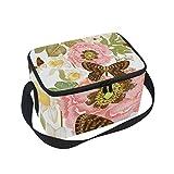 Folpply farfalla con stampa floreale pranzo, cerniera borsa frigo termica, scatola per il pranzo pasto Prep borsetta per picnic scuola donne uomini bambini