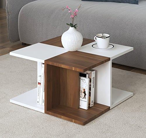 ROSE Couchtisch  Wohnzimmertisch   Beistelltisch   Kaffeetisch In Modernem  Design (Weiß / Nussbaum)