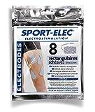Sport-Elec Électrodes rectangulaires 8 pièces Bleu/Blanc 89 x 50 mm