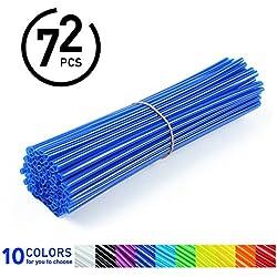 72Pcs Spoke Skins - Cubiertas de Radio de Rueda para Motocross, Bicicletas de Suciedad - 10 Colores ( Color : Azul )