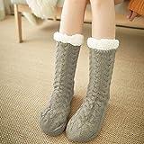 LILONGXI Warme Socken,Mädchen Verdicken rutschfeste Plüsch Gestrickt, Socken, Innen Licht Kaffee Streifenmuster Drucken Home Plus Samt Teppich Freizeit Socken (3pcs)