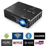 3200 Lumen Beamer LCD WLAN Android 6,0 Bluetooth Funktion HD Videoprojektor für Heimkino mit HD HDMI USB VGA RCA-Audio Passt für Smartphone Laptop iPad Tablett PS4 PS3 Spiele TV-Box in Schwarz