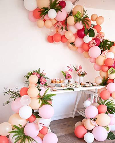 PuTwo Globos 100 Piezas Globos de Fiesta Globos de Cumpleaños Globos de Látex Fuentes de Fiesta para Cumpleaños Boda Fiesta de graduación Navidad Baby Shower - Matte Rosy & Macaron Color