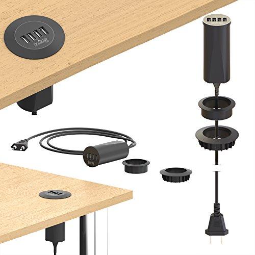 Urcover Tech Desktop USB Hub 4-fach USB Typ A Output 2.4A [ Extreme FAST Charging ] versenkbar in der Tischplatte | Ladekabel USB Ports...