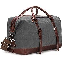 BAOSHA Vintage Segeltuch Canvas PU Leder Unisex Handgepäck Reisetasche Sporttasche Weekender Tasche für Kurze Reise am Wochenend Urlaub Arbeitstasche 40 Liter Aktualisiert