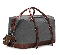 Baosha Hb-14 Oversized Canvas Weekender Bag Travel Carry On Duffel Tote Bags Weekend Overnight Travel Bag Unisex Travel Holdall Handbag With Pu Leather Decoration(gray)