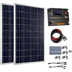 Eco-Worthy Kit de panneaux solaires hors réseau 200 Watt 12 V/24 V - 2 panneaux solaires 100 W polycristallin + contrôleur intelligent régulateur solaire 20 A pour Système de chargement 12 V ou 24 V